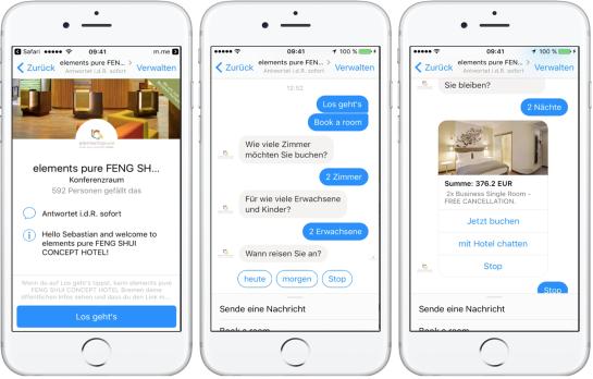 """Als erstes Hotel in Deutschland ist das """"elements pure"""" in Bremen ab sofort mit Textnachrichten in Messenger-Diensten über einen """"Chatbot"""" von LiveRate buchbar"""